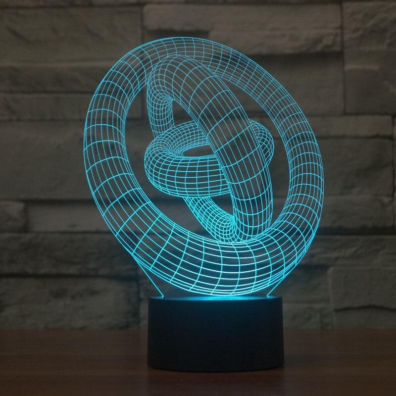 Haochu абстрактный Графика окружности трубы Улитка В виде ракушки 3D визуальный эффект светодиодные лампы тумбочка стол Ночные светильники Но...
