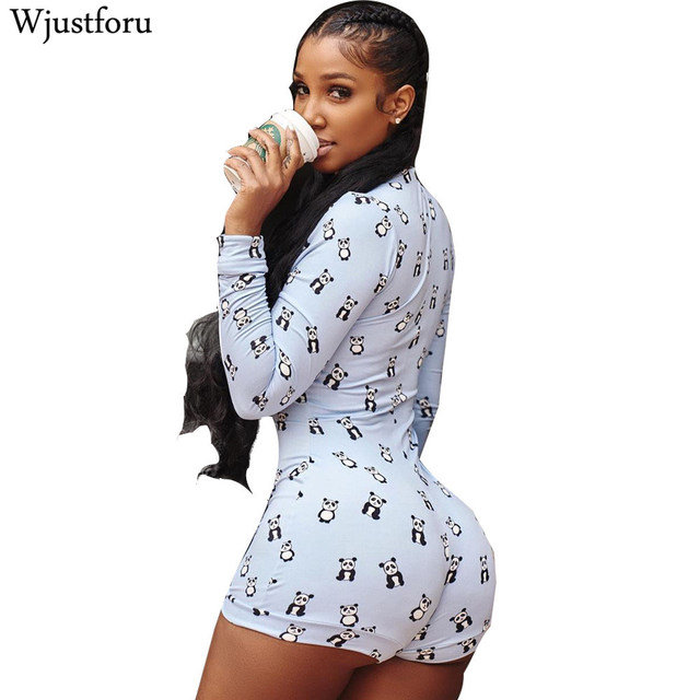 74a4651a0d1 Wjustforu Printed Cute Casual Bodycon Jumpsuit Long Sleeve V Neck Elegant  Bodysuit Womens Romper Pattern High Quality Overalls
