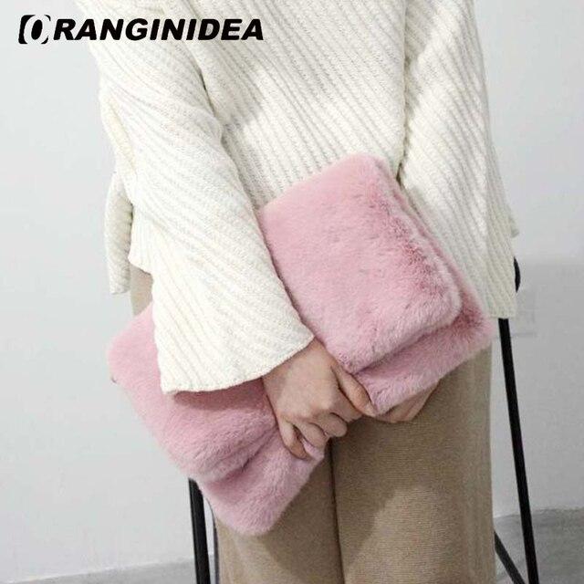 Искусственного кролика Мех животных Для женщин Сумки зима теплая плечо сумка через плечо леди Вечеринка складной клатч Сумки дизайнерские женские Сумки