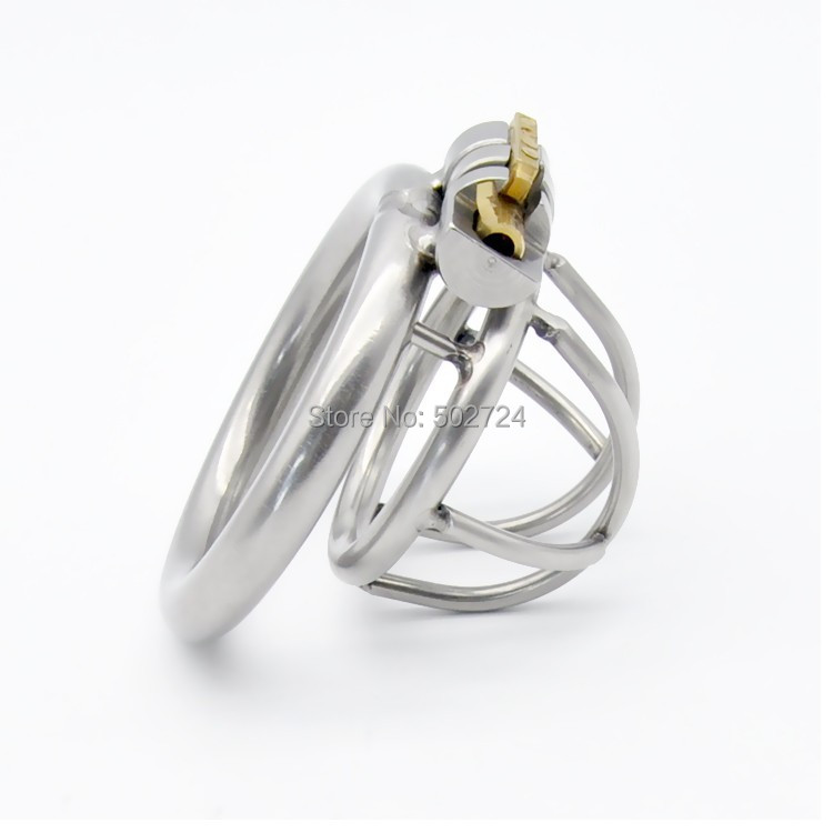 Adult Games New Lock Super Small Stainless Steel Male Chastity Device Cock Cage Penis Cock Ring Chastity Belt A231