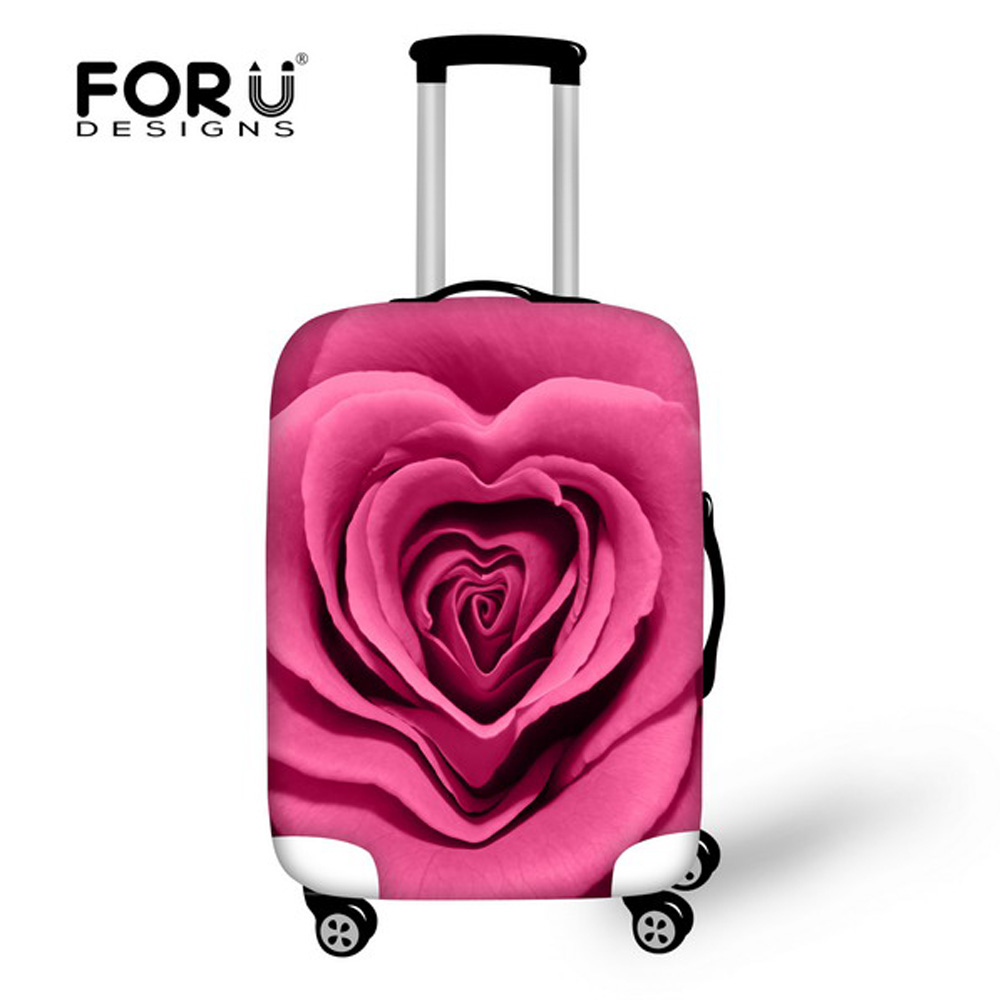 FORUDESIGNS New Fashion Travel Luggage Cover Colorful 3D Rose Flower Women Suitcase Protect Covers Thick Elastic Covers For Case