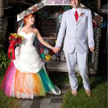Vestido De Noiva Ball Gown Wedding Dress Colorful Sweetheart Neckline Rainbow Colored Dresses