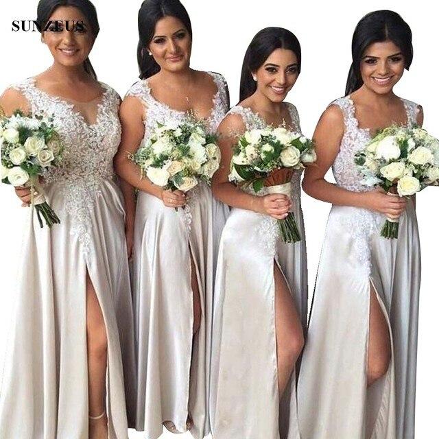 Beaded Appliques Bridesmaid Dress Suadi Arabic Women Wedding Party Dresses With Side Slit abiti da cerimonia donna BDS017