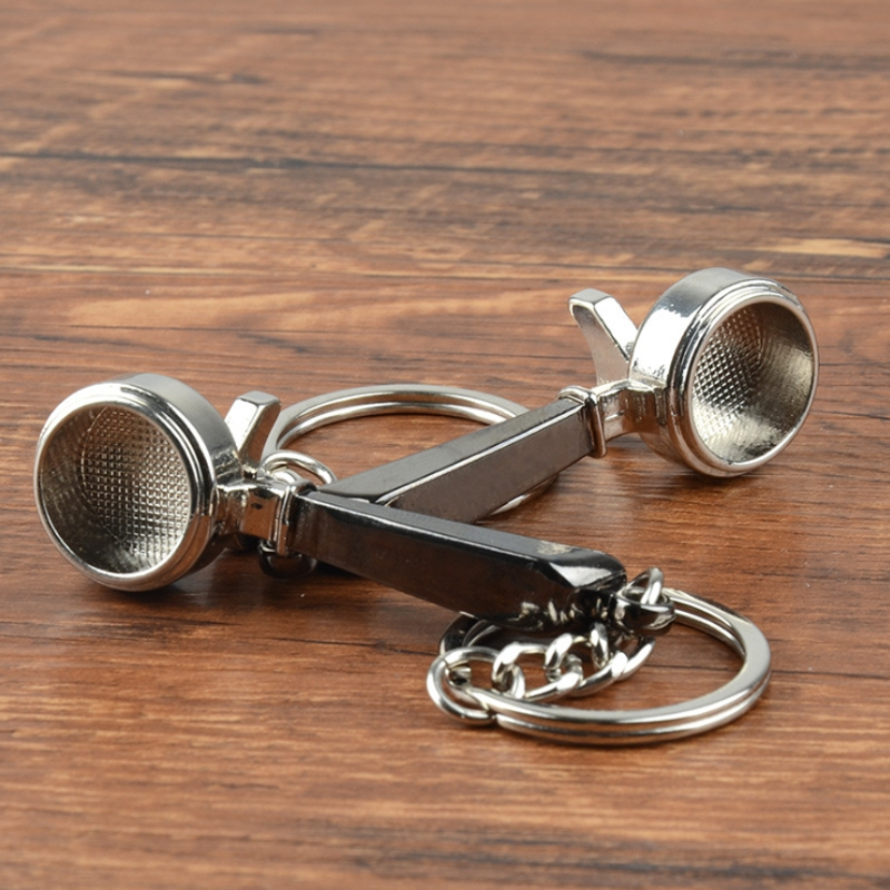 Coffee Tamper Handle Keychain Portable Zinc Alloy Keyring Coffeeware Tools Promotion Espresso Coffee Accessories Barista Gifts