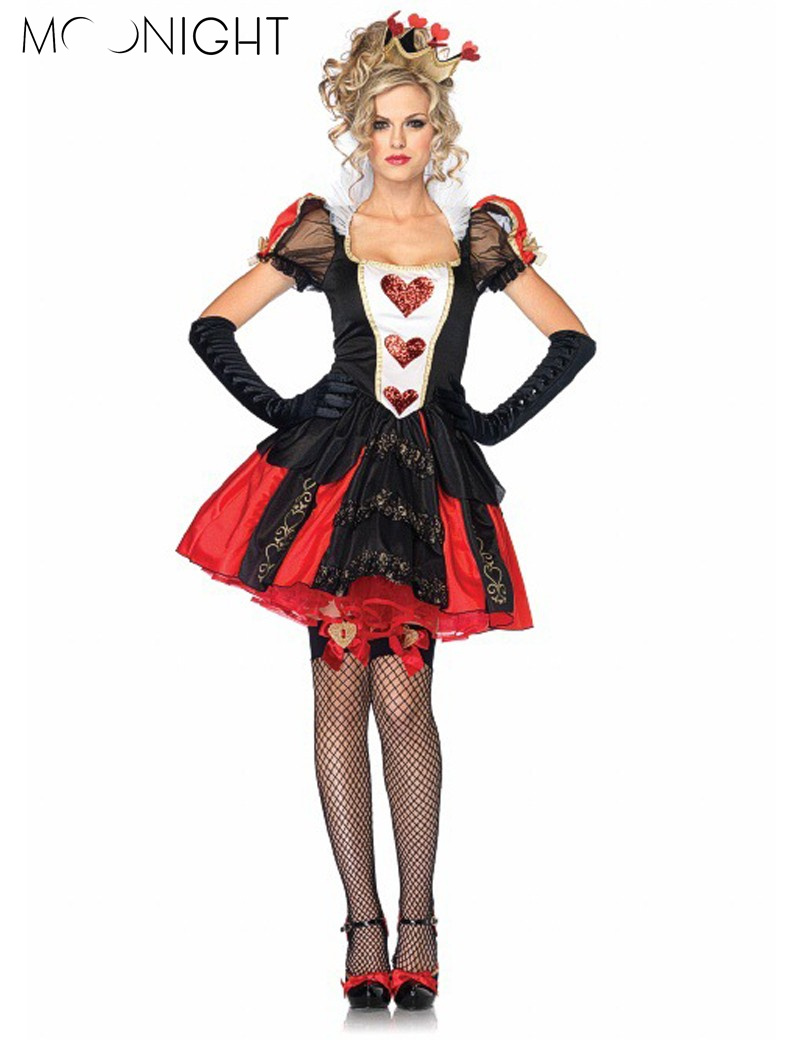 moonight 3 pcs halloween costumes adult womens poker red queen of