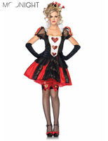 3 Pcs Halloween Costumes Adult Womens Poker Red Queen Of Hearts Costume Dress Carnival Party Queen