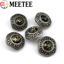 10PCS High Quality Resin Rhinestones Button Retro Coat Sweater Decorative Buttons Scrapbooking Sewing Accessories