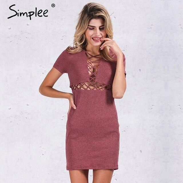 Simplee Осень зима трикотажные узелок dress женщины Сексуальное красный bodycon dress vestidos Элегантный партия с коротким рукавом девочек dress 2016