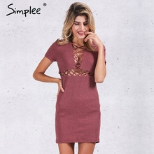 Simplee Autumn winter knitted lace up dress women Sexy red bodycon dress vestidos Elegant party short sleeve girls dress 2016