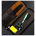 Профессиональные Парикмахерские Ножницы Челка Ножницы Зеленый Холить Ножницы Парикмахера Япония 440c 5.5 дюйма Высокое Качество Салон + сумка