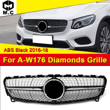 Fits For MercedesMB W176 Diamond grille grill Sport A45AMG look A-Class A180 A200 A250 A260 Front bumper ABS Black 16-18