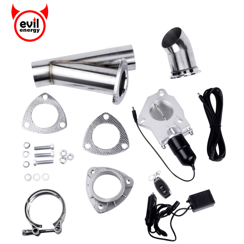 tenaga jahat 3 Inch Exhaust Cutout Stainless Steel Headers Y pipe Electric Cut Out Kit with Remote Control