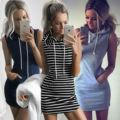 Primavera quente de verão sem mangas com capuz dress bolso listrado vestidos curto mini vestidos de festa lápis bodycon capuz dress t699