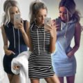 summer spring hot sleeveless hooded dress striped pocket vestidos short party dresses mini pencil bodycon hoodie dress T699