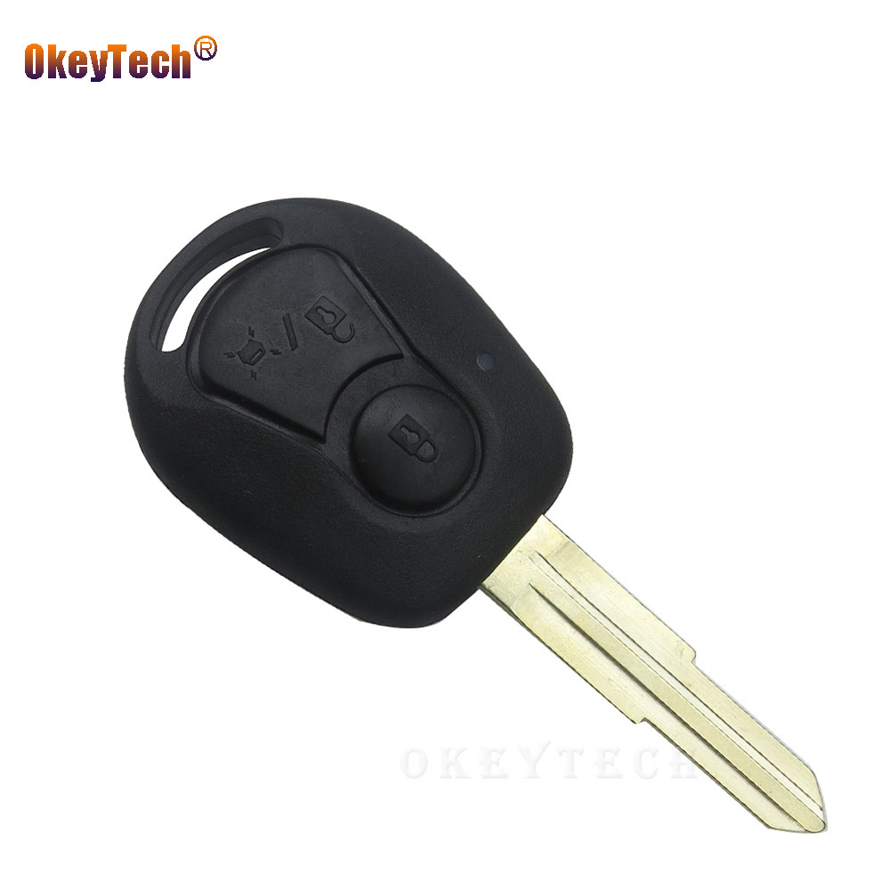 OkeyTech 2 Button Auto Key Blank Shell Fob For Ssangyong Actyon Sport Kyron Rexton With Uncut Blade Remote Key Shell Replacement