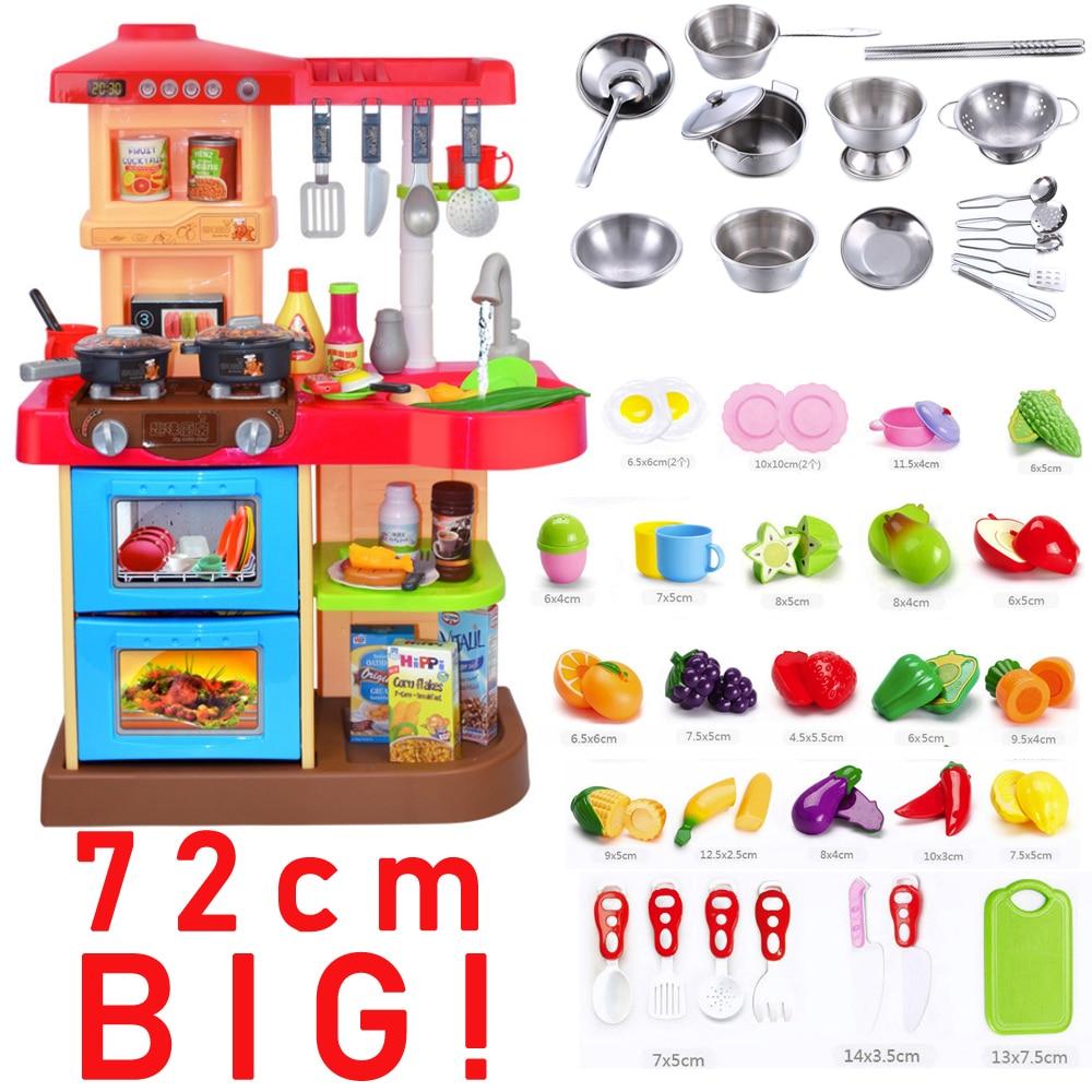 Большой 72 см 83 шт. виды предметы столовой посуды поступление ребенок классический ролевые игры подражать шеф повар свет кухня наборы для ух...