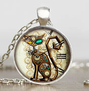 sugar skull US Movie Mechanical Clock Cat Handmade Necklace silver Pendant steampunk Jewelry Gift women chain mens necklaces toy