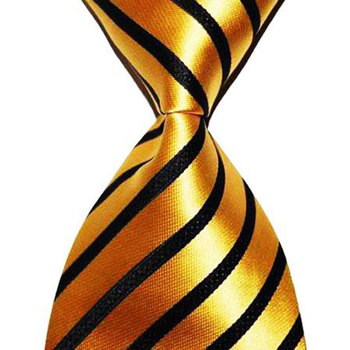 Striped Tie Gift For Men Silk Neckties Gold 10cm Width Fashion Jacquard Woven Formal Wear Business Wedding Party Suit Christmas