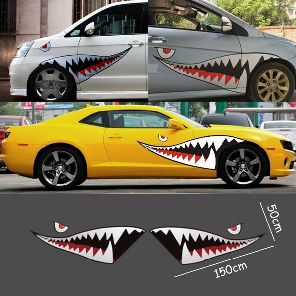 Red grey shark mouth tooth teeth reflective sticker vinyl auto car cool refiting exterior decal for