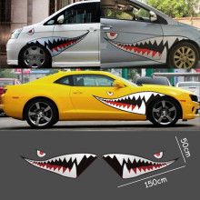 Red Grey Shark Mouth Tooth Teeth Reflective Sticker Vinyl Auto Car Cool Refiting Exterior Decal For Side Door Car Styling