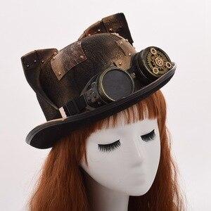 Image 3 - Steampunk czapki gotyckie ucho kota gogle melonik Topper Fedora Party akcesoria świąteczne