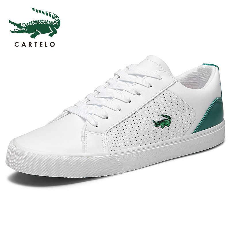 CARTELO Nieuwe Casual Schoenen Mannen Lederen Platte Schoenen Lace-up Low Top Sneakers Tenis Masculino