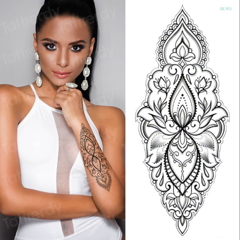 Temporary Tattoo Women Mehndi Henna Stickers For Hands Mandala Tattoo Black Sketches Tattoo Designs Lotus Peony Flowers Pattern