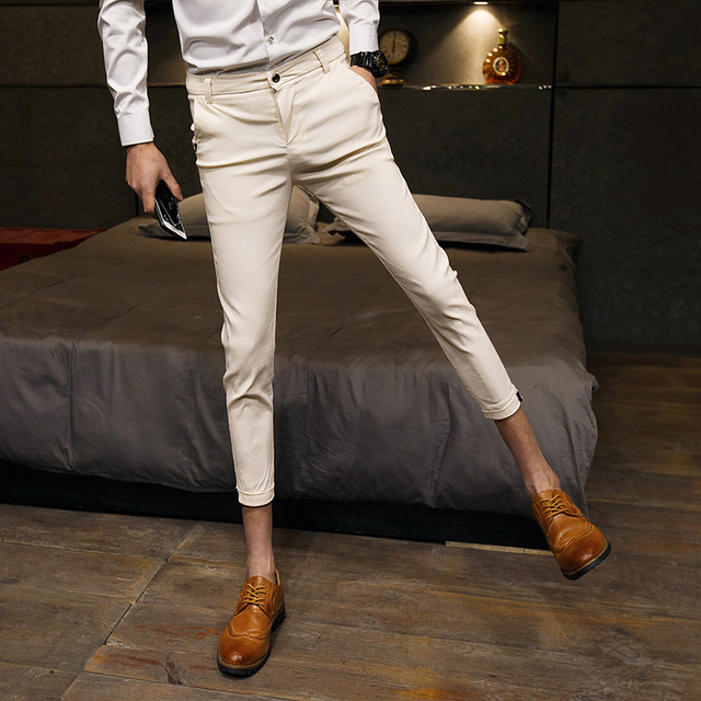 acec501be High Quality Pants Men Fashion Slim Fit Summer Dress Pants Ankle Length  Solid Casual Formal Wear Men Pant Boys Trousers Men Sale
