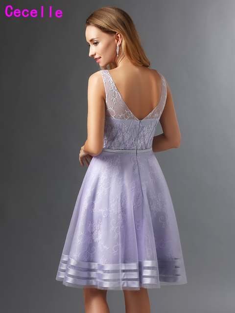 af9de7f64 Lilac A Line Lace Cocktail Dresses Short Sleeveless Knee Length Cute  Juniors Informal Prom Cocktail Party