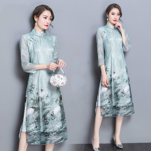 Chinese Style New Printing Women Dress Three Quarter Sleeve Mandarin Collar 2018 Summer Slim Beautiful Dresses Women Clothing