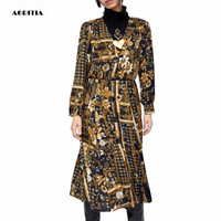 2019 Women Spring V Neck Long Sleeves Dresses Print Dress Robe Pull