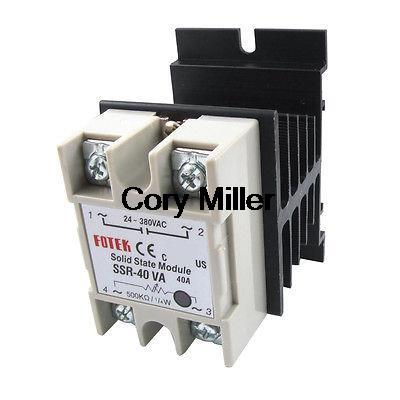 Adjustable Solid State Relay SSR 40A 24-380V AC 500K ohm w Aluminum Heat Sink 25a ac 380v solid state relay voltage resistance regulator w aluminum heat sink