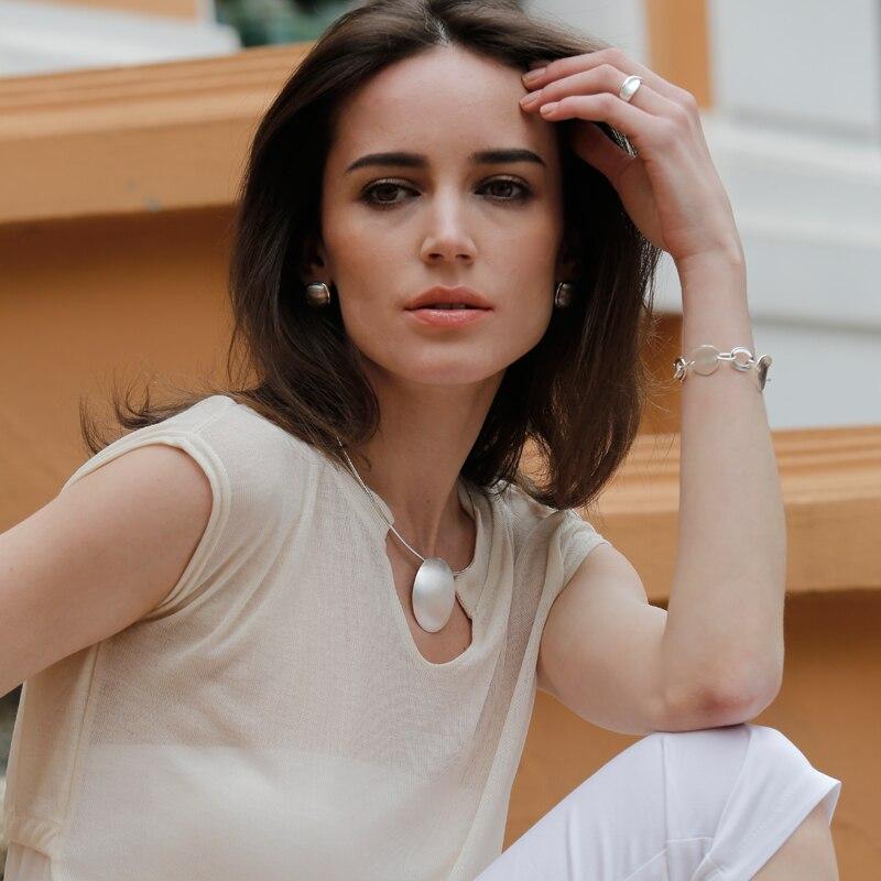 SA SILVERAGE 925 plata esterlina Oval gargantilla collar Chocker collares fina joyería para las mujeres collier femme 8,81g/35mm * 44mm - 2