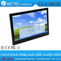 13.3 inch resistive All-in-One touchscreen embeded PC with Intel Celeron C1037U 1.8Ghz 4G RAM 64G SSD 640G HDD