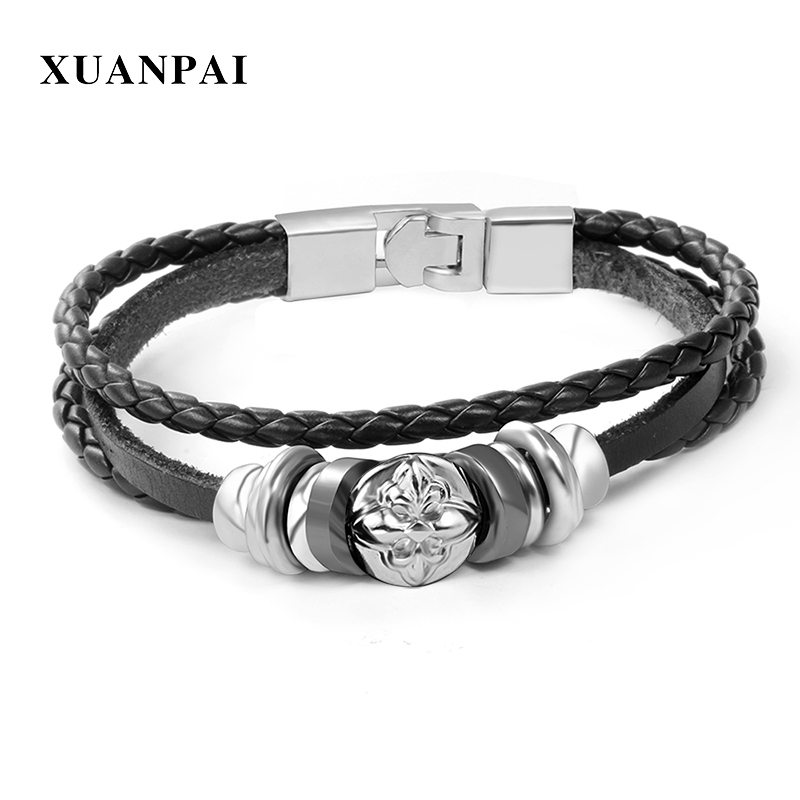 XUANPAI Mens Bracelet Black Braided Rope Leather Chain Bracelets Punk Rock Style Male Jewelry 8.8
