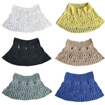 Womens Summer Handmade Lace Crochet Bikini Bottoms Skirt Solid Color Hollow Out Knitted Swimsuit Cover Up Ethnic Pattern Mini A-