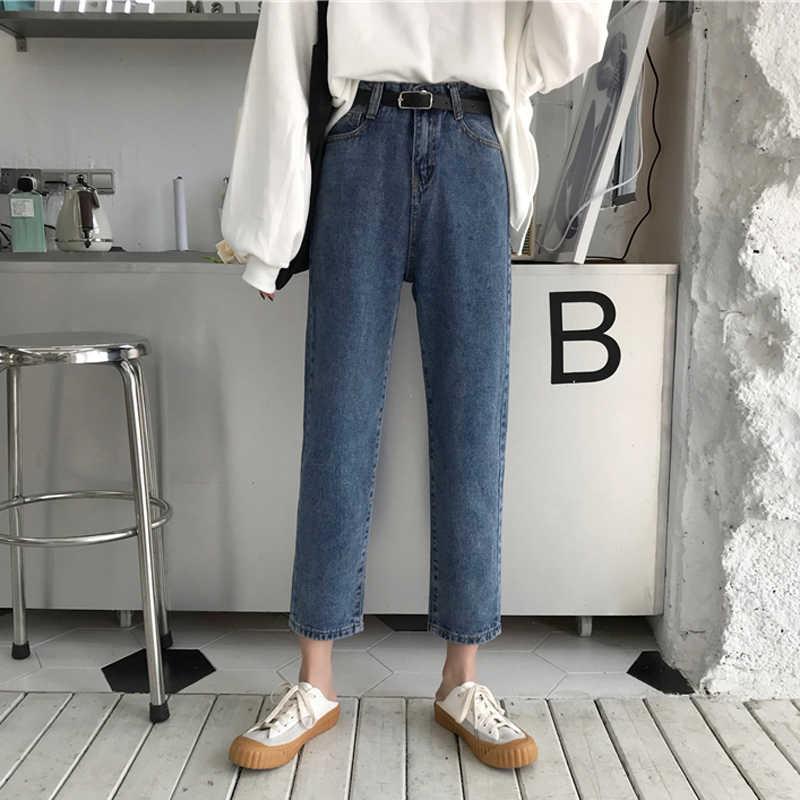 2 цвета Mihoshop Ulzzang Корейская женская модная одежда высокая талия джинсовые ковбойские прямые джинсы брюки