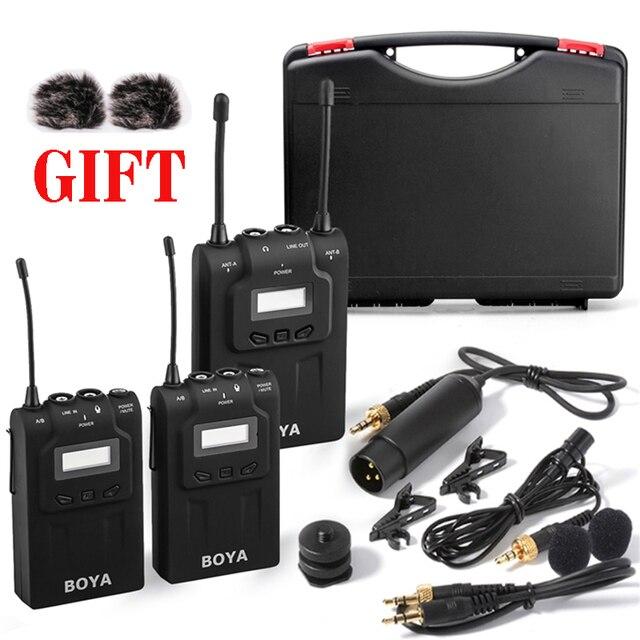 BOYA BY-WM8 UHF Dual Беспроводной Петличный Микрофон Systerm Дав Интервью Микрофон 2 Передатчики 1 Приемник для DSLR Video Camera