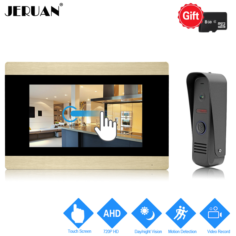 JERUAN 720P Motion Detection 7 inch Touch Screen Color Video Door Phone Intercom System Record Monitor +Waterproof Mini Camera jeruan home 7 video door phone intercom system kit rfid waterproof touch key password keypad camera remote control in stock