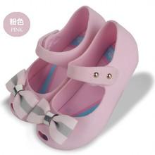 Fashion Bowtie 2017 Mini Jelly Shoes Girls Summer Sandals Fish Mouth Princess Shoes Flat PVC Beach Shoes