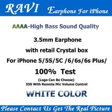RAVI Tinggi Bass Suara In-Ear Earbuds Headphone Dengan Mic Volume Control untuk Apple Earphone iPhone 4 5 s/6 s Android MP3 100 pcs banyak(China)