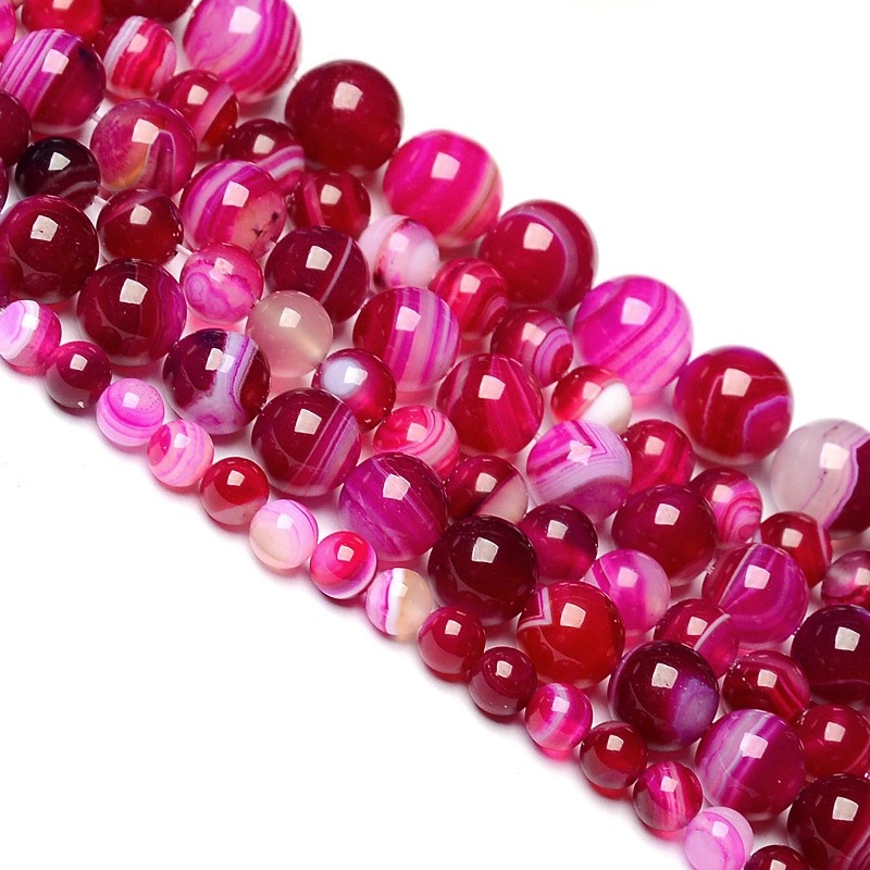 Wholesale Womens Girls New Wholesale Natural Stone Beads For Jewellery Making Rose Red Banded stone DIY Round Shape Cryst