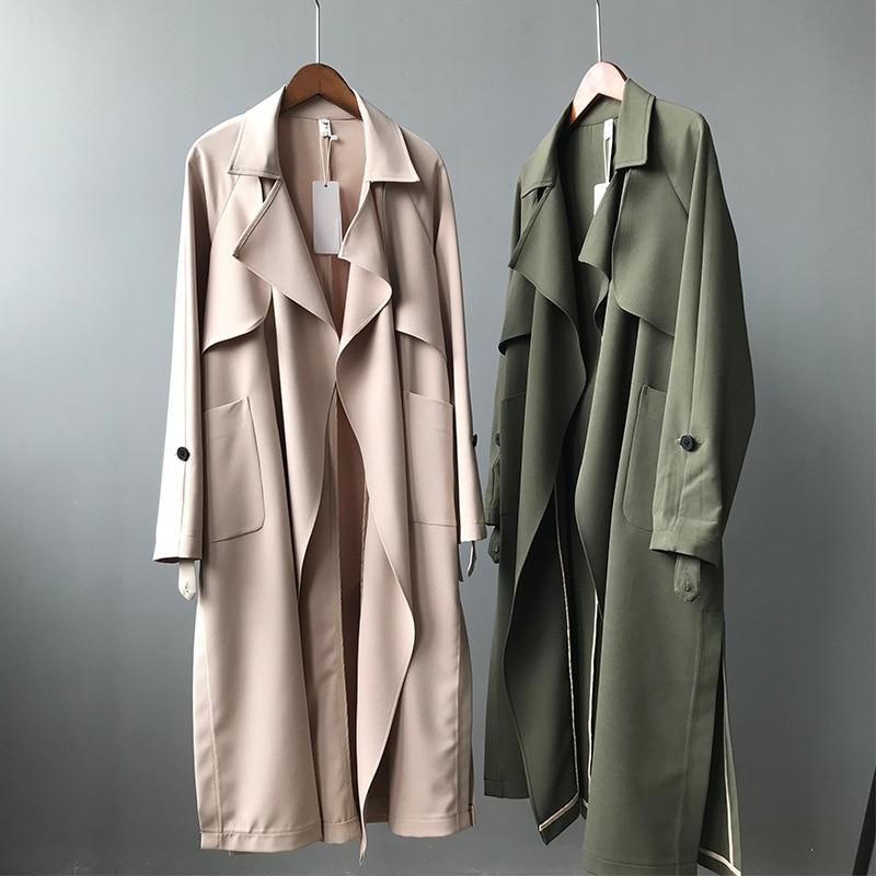 19 Spring Women Long Coat Turn Down Collar Harajuku Women Army Green Trench Coat Casaco Feminino Abrigo Mujer Trench Femme 6