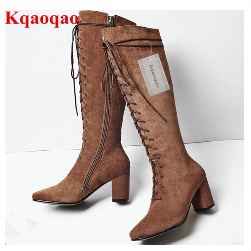 Высокий каблук женщин зимние ботинки спереди на шнуровке Кросс-привязанные обувь Бренд супер Звезда обуви взлетно-посадочной полосы с длинным пинетки молния сбоку классический удобную женщин