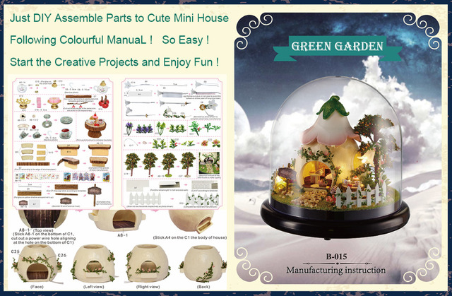 Cutebee DIY House Miniature with Furniture LED Music Dust Cover Model Building Blocks Toys for Children Casa Handmade B015