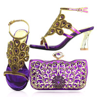 Purple rhinestones new italian shoes bags set free shipping african aso ebi sandal shoes and cluthces bag shoes bag set SB8167 4