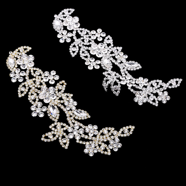 Flower Crystal Rhinestone Appliques for Wedding Dress Sash Decoration  Rhinestone Trims Sew on Silver Gold Flatback c09ab8671831