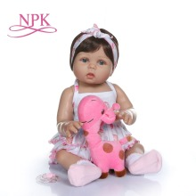 NPK 47CM newborn bebe doll reborn baby girl  doll in tan skin full body silicone Bath toy lol dolls Xmas Gfit