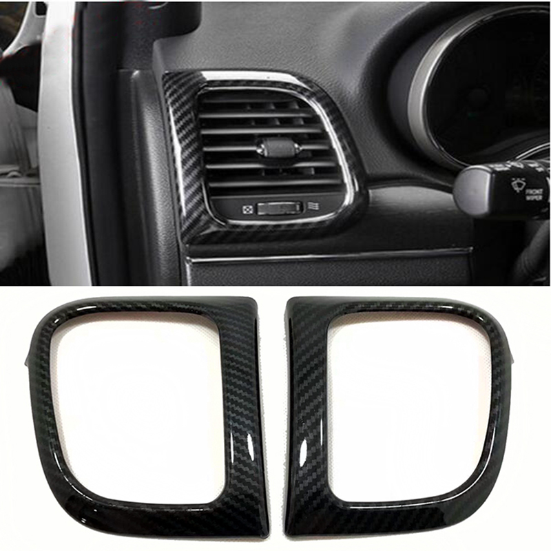 Car Styling For Jeep Grand Cherokee 2014 2015 2016 2017 2018 ABS Carbon Fiber Front Side Air Vent Outlet Cover Trim 2pcs