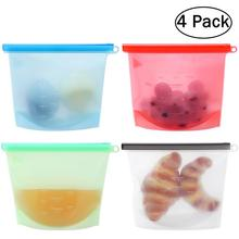 4pcs Reusable Silicone Food Preservation Bag Airtight Seal Food Storage Container Versatile Cooking Bag Kitchen Cooking Utensil
